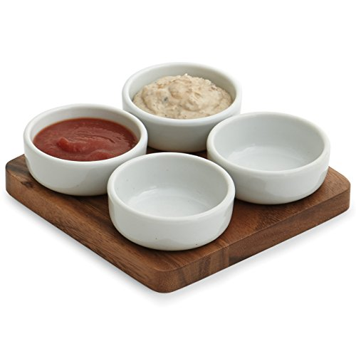 Woodard & Charles 5 Piece Acacia Wood Ceramic Pinch Bowl Set, 6