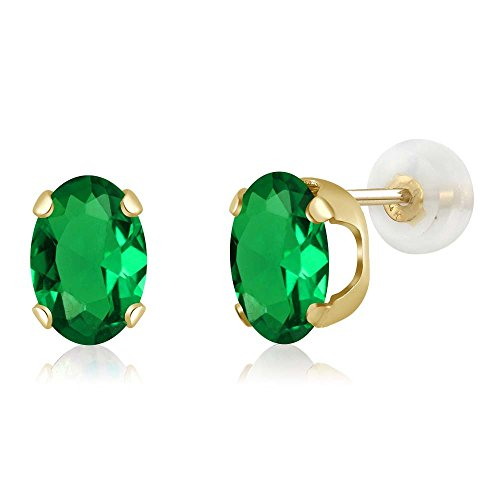 2.00 Ct Oval 8x6mm Green Simulated Emerald 14K Yellow Gold Stud - Earrings Simulated Gems