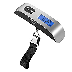 [Backlight LCD Display Luggage Scale]Dr.meter PS02 110lb/50kg Electronic Balance Digital Postal Luggage Hanging Scale with Rubber Paint Handle,Temperature Sensor, Silver/Black