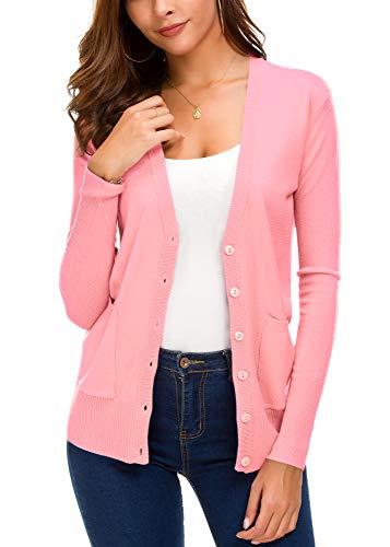 Button Down Long Sleeve Coat - Women's Basic Cardigan Long Sleeve Button Down Thin Coat Autumn Fashion Sweater (XL, Pink)