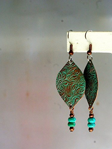 Turquoise Marquis (Copper Embossed Earrings - Verdigris Marquis with Turquoise Rondelles - Floral Stamped Copper)