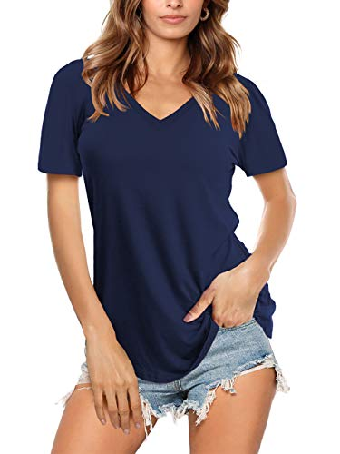 Amoretu Causal V Neck T Shirt for Women Short Sleeve Tees Summer Tops (Navy,L)
