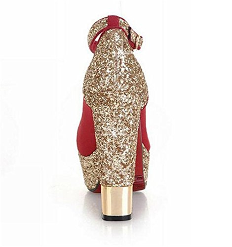 impermeabile da scarpe XIE 38 sposa 40 RED paillettes Scarpette opache red fibbie qInWT0wX