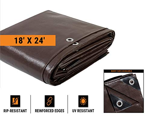 (18' x 24' Super Heavy Duty 16 Mil Brown Poly Tarp Cover - Thick Waterproof, UV Resistant, Rot, Rip and Tear Proof Tarpaulin with Grommets and Reinforced Edges - by Xpose Safety)