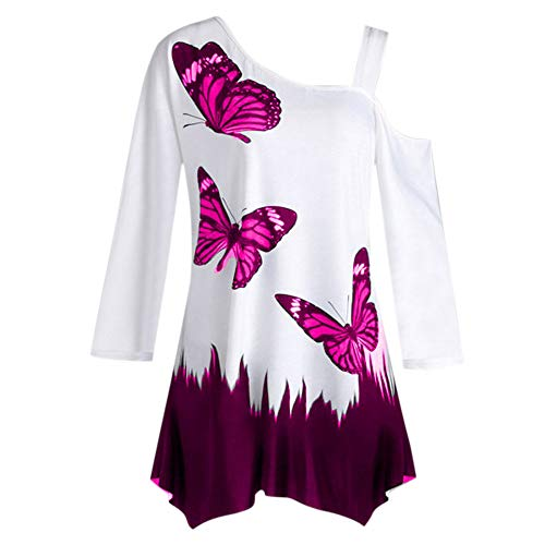 OrchidAmor Women's Butterfly Print One Shoulder Long Sleeve Tunic T-Shirt Loose Blouse Tops Hot Pink ()