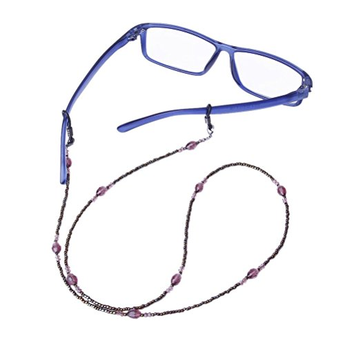 VORCOOL Glass Chain Bohemia Style Decorative Beaded Eyeglasses Spectacles Chain Holder Purple