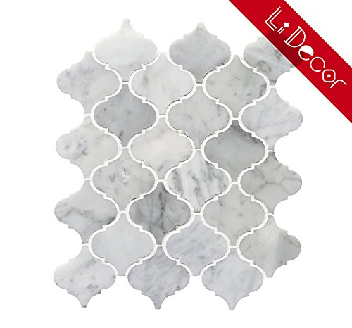 Decorative Tile (Italian Bianco Carrara White Marble Arabesque Lantern Mosaic Tile (3.27sf.,4Pack Per Case) Wall Floor Decorative Bathroom Kitchen Backsplash Tiles, Polished)