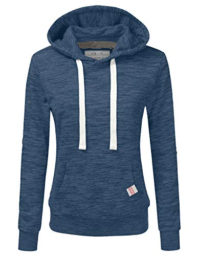 Novelty Knit Jacket - Doublju Basic Lightweight Pullover Hoodie Sweatshirt for Women Denim Small