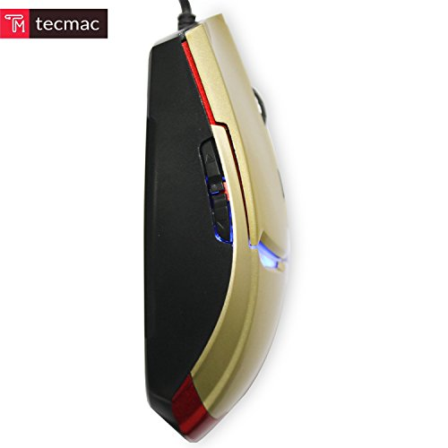 TecMac Iron Man Design USB Wired 3200 DPI 6D Gaming Automatic Change Color Mouse for PC/Laptop, 4 Adjustable DPI Levels with 6 Buttons (Gold) by tecmac (Image #2)