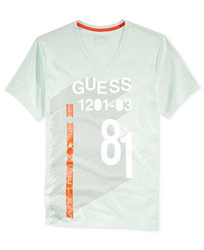 Guess Men's Grid Line Graphic-Print Logo V-Neck T-Shirt, Tinted Mint, Large