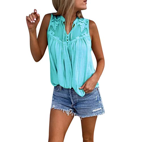 Lace Shirt Aqua - Orangeskycn Women Tank Tops Loose Fit Chiffon Panel Lace Sleeveless Shirt Light Blue