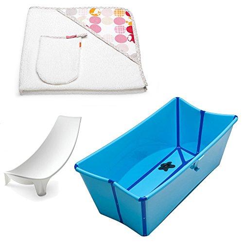 Stokke Flexi Bath w Stokke Hooded Towel, Silhouette Pink & Newborn Support (Blue) by Stokke