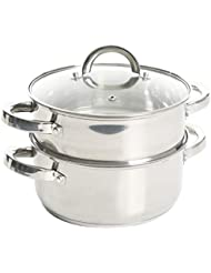 Oster Sangerfield Stainless Steel Cookware, 3.0-Quart Casserole Set w/Steamer Insert, 1
