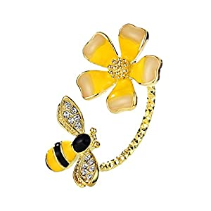 NEOGLORY Jewelry Yellow Flower Bees Zircon Adjustable Rings for Girls