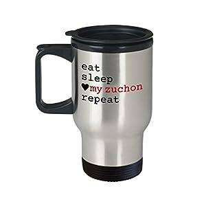 """Zuchon Travel Mug - """"Eat Sleep Love My Zuchon Repeat"""" Travel Cup - Special Zuchon Dog Gift 4"""