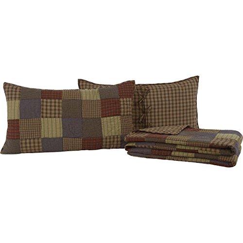 VHC Brands Rustic & Lodge Bedding - Cedar Ridge Blue Quilt Set, King, Navy Blue Ridge Rustic Plaid