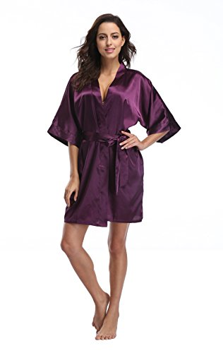 Luvrobes Women's Satin Kimono Robe, Solid Color, Short (Plum, XL)]()