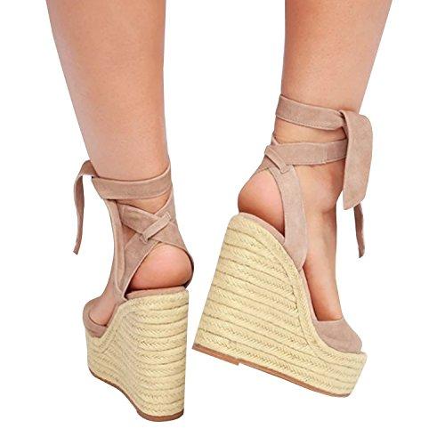 Minetom Hebilla Tacón Alpargatas De Dulce Playa Caqui Verano de Sandals Sandalias Mujer Cuña Espadrille Alto Chancletas Plataforma Zapatos r6HwYrq