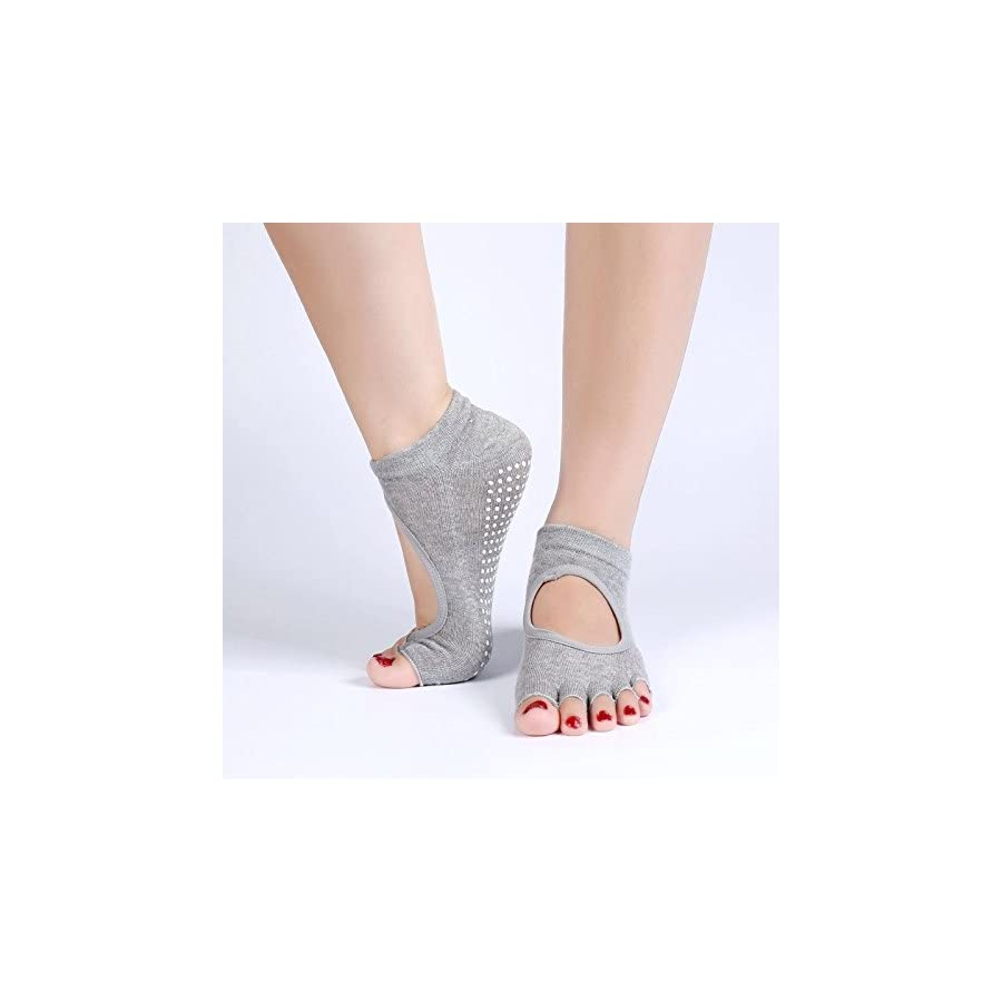 YOGA SOCKS By Trained, 2 Pairs in a Lucky Dip , (Blue or Black Or Grey) With Non Skid Silicone Soles, Pilates, Ballet, Comfortable & Breathable, Bonus Yoga Belt Strap & Yoga Stretching Guide Included