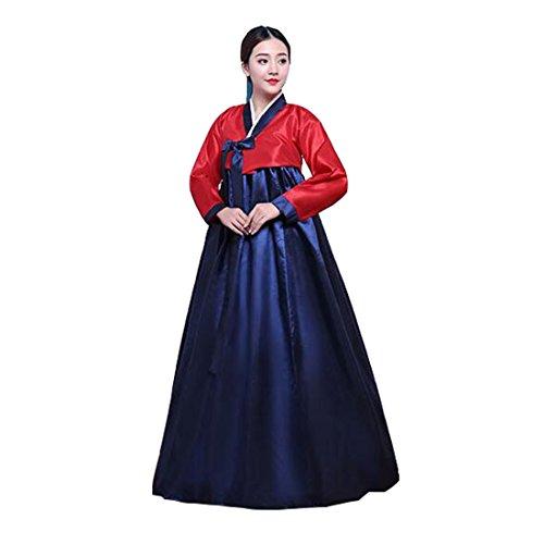 [Ez-sofei Women's Korean Traditional Hanbok Dancing Dresses XL Rose Red&Dark Blue] (Korean Culture Costume)