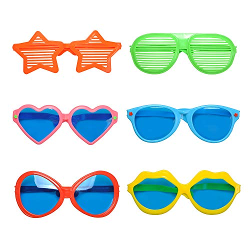 Seekingtag 6 Pack Jumbo Sunglasses Photo Booth Glasses for Costumes Cosplay Props Party