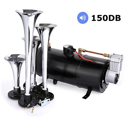 150DB Train Air Horn Kit, 4 Trumpet Train Horn Kit with 120 PSI Air Compressor 1.5 Gal Air Tank for Car Truck Train Van Boat (Black) (Best Air Horn For Car)