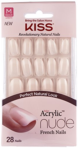 Kiss Salon Acrylic Nude French Nails, Graceful, 31 Count