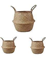 York Duck Woven Seagrass Belly Basket with Handles for Storage, Laundry, Picnic,Woven Plant Pot Holders