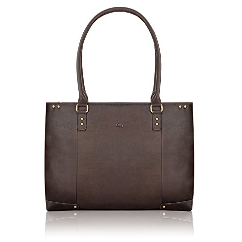 (SOLO Jay 15.6 Inch Leather Laptop Carryall Tote, Espresso)
