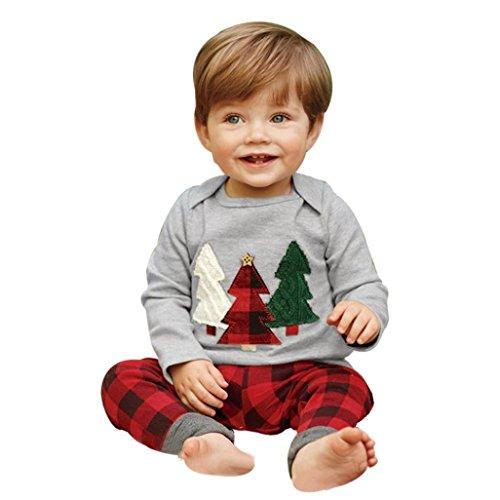 Kehen 2PCS Toddler Baby Christmas Tree Long Sleeve Shirt + Plaid Pants Xmas Clothes Set (2T, 1 Gray)