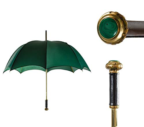 Handmade Emerald Walking Stick Umbrella with leather-wrapped Handle and Natural Stone Malachite Round Cabochon insert