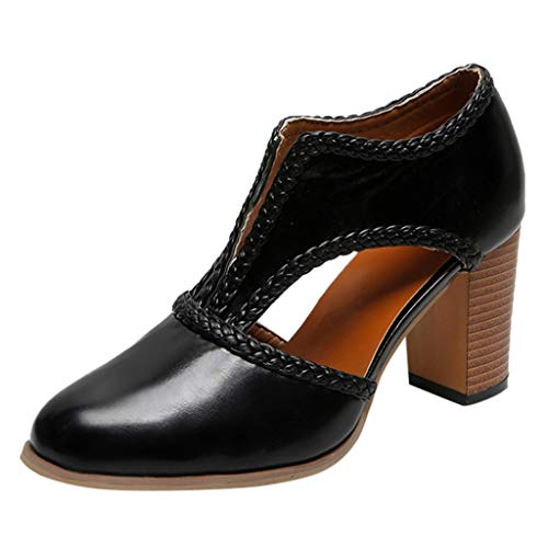 Pumps Shoes Women,Kansopa Ladies Fashion Vintage high Block Heels Pump Closed Pointy Toe Leather Casual Dress Pump Sandals Black