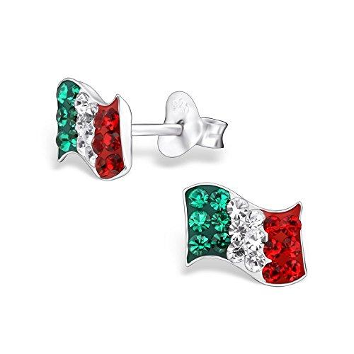 925 Sterling Silver Italy Flag w/ Crystals Stud Earrings (Italian Earrings)