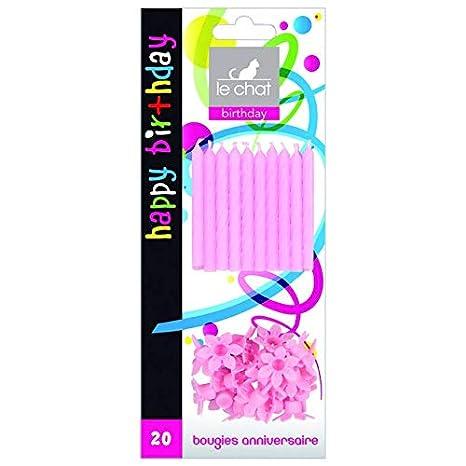 Vela Cumpleaños X20 + 20 montaje rosa: Amazon.es: Iluminación