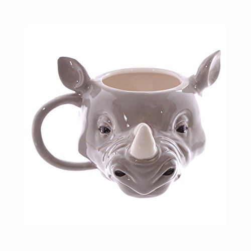 [JUNs 3D-Rhinoceros-Mug-Rhino-Head-Ceramic-Mugs-Animal-Drinkware] (Animal That Starts With J)