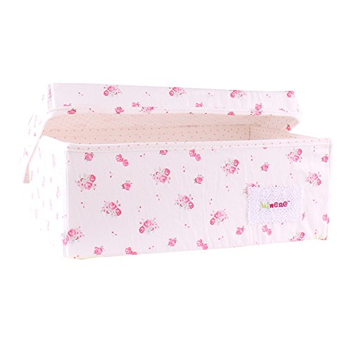 Minene Small Foldable Fabric Storage Box L32xW21xH12cmLinen Cosmetic Stationery Organiser with Flowers(Cream with Vinatge Roses) 21116