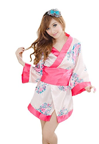 Condom Costume Amazon (SAKURA-S: Sexy Luxury Japanese style Kimono Outfit Cosplay Costume Set 2 (2017 Cherry Blossoms))