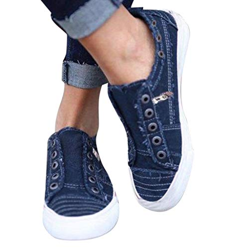 0ca44a764e07c Pongfunsy Womens Canvas Shoes Sport Slip On Running Flat Shoes Summer  Zipper Single Shoes Casual Loafers Espadrilles (43, Blue 10)