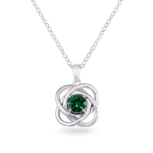 Sterling Silver Simulated Emerald Polished Love Knot Pendant Necklace