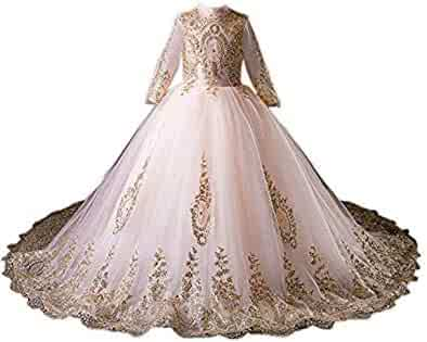 387be4751 gsunmmw Gold Lace Flower Girl Dresses for Wedding Beaded Pageant Ball Gown  First Communion Dress for