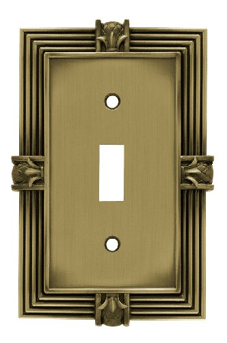Franklin Brass 64474 Pineapple Single Toggle Switch Wall Plate / Switch Plate / Cover, Tumbled Antique Brass - Cover Solid Brass Switchplate
