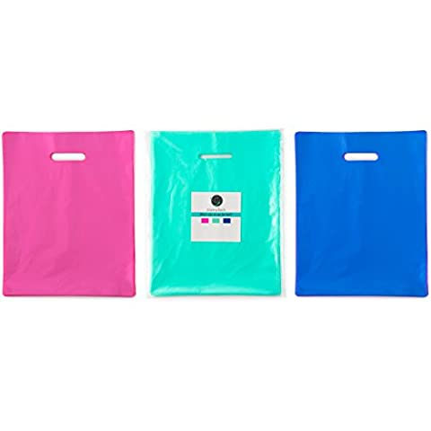150 9x12 Teal, Royal Blue, Pink Premium LDPE Plastic Merchandise Bags, Best for Retail Shopping, Lularoe T-shirt Grocery Birthday Gift, Party Favors, Extra 2 mil (Cartera De Compras)