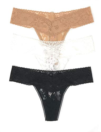 (Victoria's Secret The Lacie Thong Panty Set of 3 Small Nude/Cream/Black)