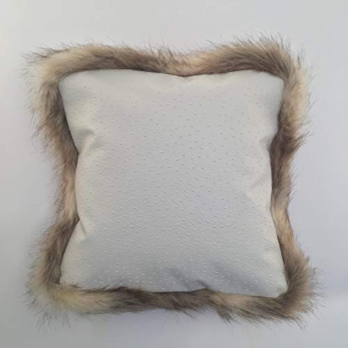 Contemporary Style Throw Pillow Cover with Two-tone Beige/Light Brown Fur Trim, Luxurious Faux Ostrich Fabric, 18x18, 20x20, Made to order, Custom Handmade in ()
