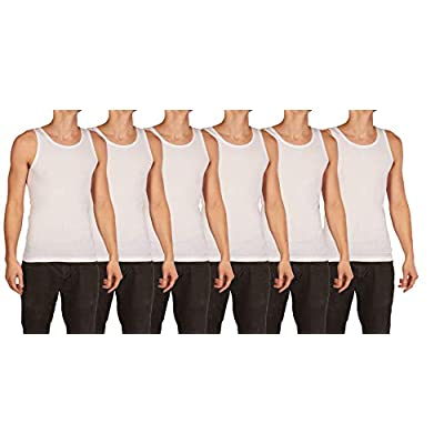 6 Pack of Men's 100% Cotton Ribbed A-Shirts, Tagless - Small to 3XL Available (TRI-A-Shirt 6) at Amazon Men's Clothing store