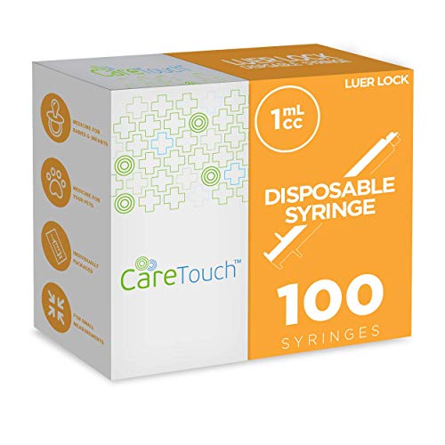 1ml Syringe Only with Luer Lock Tip - 100 Syringes Without a Needle by Care Touch - Great for Medicine, Feeding Tubes, and Home Care