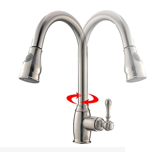 VCCUCINE Modern Solid Brass Pull Out Single Handle Stainless Steel Pull Down Sprayer Kitchen Faucet, Brushed Nickel Kitchen Sink faucets by VCCUCINE (Image #3)