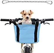 MATTISAM Bike Basket with Dog Seat Belt, Phone Pouch and Drawstring Cover, Quick-Release Detachable Foldable B