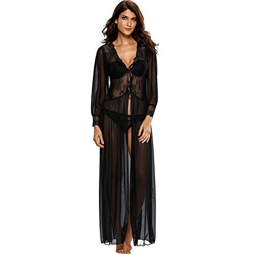 MS.QIN Lingerie for Women,mesh Chemise Long Lace Dress Sheer Gown See Through Kimono Robe Set