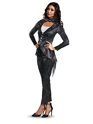 Jack Skellington Female Costume (Disney Women's Jack Skellington Deluxe Adult Costume, Multi,)